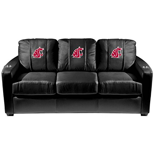 XZipit College Silver Sofa with Washington State Cougars Logo Panel, Black