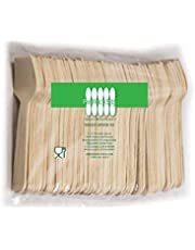 """Perfect Stix Green Spoon 95-100ct Wooden Square Compostable Cutlery Taster Spoon with Concave, 3-1/2"""" Length (Pack of 100)"""
