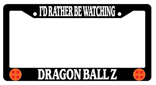 Yohoba Black License Plate Frame I'd Rather Be Watching Dragon Ball Z