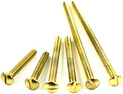 50 M3.0 x 30mm BRASS SLOTTED RAISED COUNTERSUNK MACHINE SCREWS FULLY THREADED