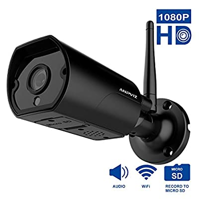 1080P HD WiFi Bullet Camera, Anpviz Wireless Bullet Camera, IP66 Weatherproof Outdoor Cameras, 2 Way Audio and Anti Thunder Design?Black? from TLS Mall