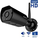 1080P WiFi Bullet Camera, Anpviz Wireless Outdoor Security Camera, IP66 for Indoor/Outdoor, 2 Way Audio Anti Thunder Design WiFi Camera (Black)