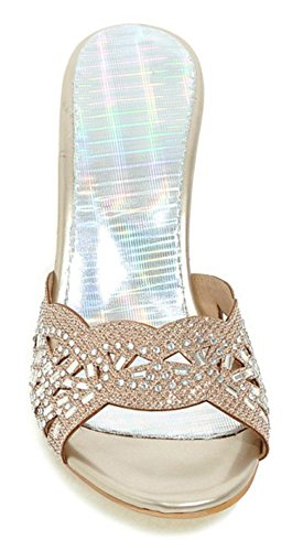 9a7c7ee184f Sfnld Women s Sexy Open Toe Hollow Out Rhinestones Medium Stiletto Slide  Sandals hot sale