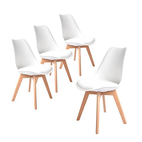 Buschman Set of Four White Eames-Style Mid Century Modern Dining Room Wooden Legs Soft Padded Chairs