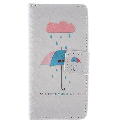 Più colorate Ancerson in pelle PU Flip Custodia per cellulare per Apple iPhone 5/5S/5G in pittura ad olio Stil Colorful Painting Custodia Flip Case Custodia in similpelle custodia per cellulare con fu Ombrello