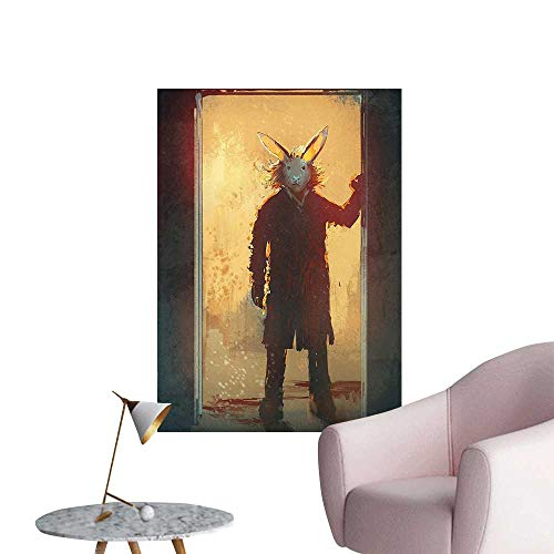 Wall Decoration Wall Stickers House Man with Rabbit Mask at The Door Spiritual People Acrylic Paint Print Artwork,32