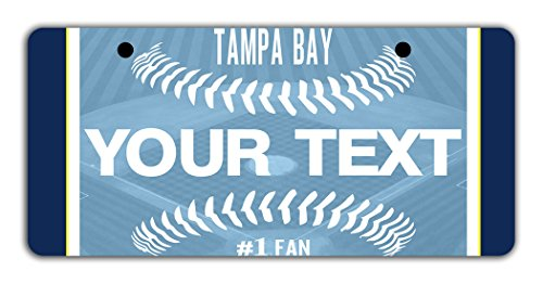 """BleuReign(TM) Personalized Custom Name Baseball Tampa Bay Bicycle Bike Moped Golf Cart 3""""x6"""" License Plate Tag"""