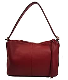 Vince Camuto Veda Malbec Red Leather Shoulder Bag