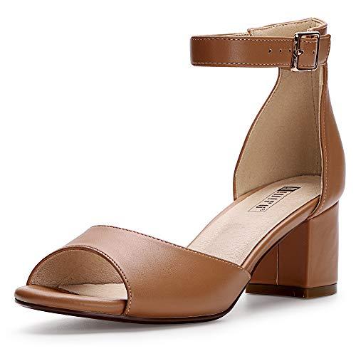 IDIFU Women's IN2 Candie Low Chunky Block Heel Pump Heeled Sandals Buckle Ankle Strap Peep Toe Dress Shoes (10 M US, Nude Pu) from IDIFU