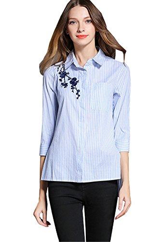 JOTHIN 2018 Donna Manica a 3/4 Bluse Fiori Ricamo Camicioni Blu Polare Strisce Camicia da Lavoro Eleganti Casual Camicetta Autunno
