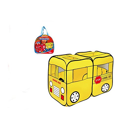 Mallya Large Yellow School Bus Truck Pop-Up Play Tent - Bus with Side Door Entrance for Boys or Girls for Indoor or Outdoor Use (Fold Up School Bus Tent)