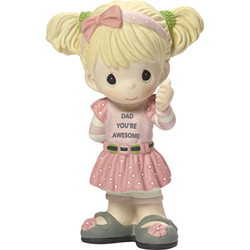 Precious Moments My Dad's Awesome Girl With Thumbs Up Bisque Porcelain Home Decor Collectible Figurine 173005