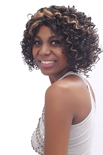 BUTY Synthetic Short Curly Wig for Women Sexy Afro Style Natural Looking Ventilating Female Pelucas, Dark Brown Mixed Strawberry Blonde