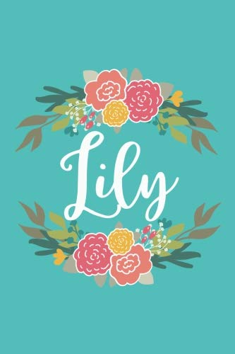 Lily: 6x9 Lined Writing Notebook Journal with Personalized Name, 120 Pages - Pink & Yellow Flowers on Teal Blue with Cute and Fun Family Quote - ... End of School Teacher's Gift, or Any Day (Lily Journal)