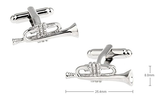 Silver Trumpet Cufflinks for Men's French Shirt for Jazz Music Orchestra Band Symphony Tuba Fans