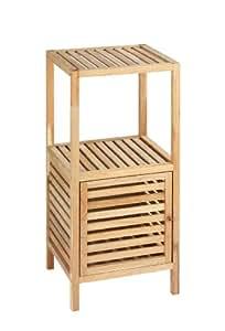 Wenko Norway - Estantería con puerta para el baño y el hogar, madera de nogal, 39.5 x 86 x 35.5 cm