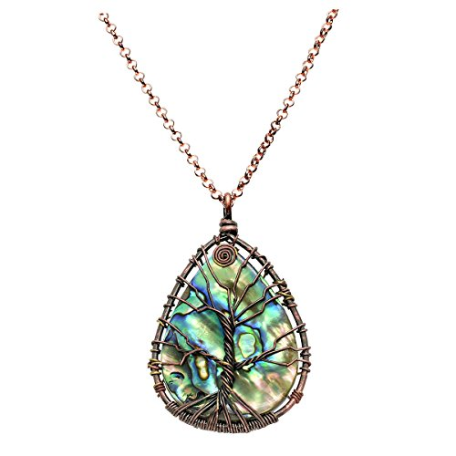Abalone 2 Hole - QGEM Tree of Life Charms Pendant Necklace with Chain 24