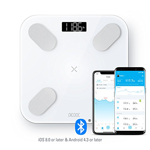 PICOOC Big PRO Bluetooth Smart Body Fat Scale, Wireless Digital Bathroom Scale with iOS & Android App, Body Composition Analyzer, Instant Readout, 13 Measurements for Body Fat, BMI, BMR & More, White ()