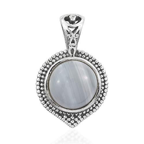 925 Sterling Silver Round Banded Agate Pendant