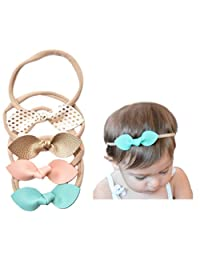 Rabbit Ears Faux Leather Bow-Stretch Headbands for Baby Toddler Girls, Set of 4