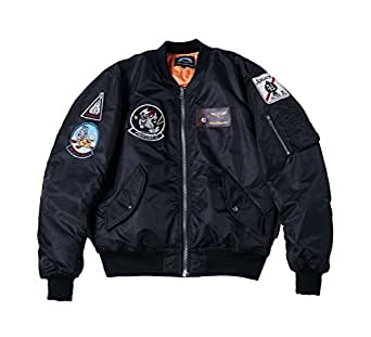 AVIDACE Classic Bomber Jacket Men Nylon Quilted with Patches Size S Black