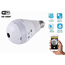 eoqo® 360°Wide Angle Fisheye WiFi IP Hidden Camera Bulb LED Light 1080P HD Indoor Spy Security Camera for Android IOS APP Remote View Spy Nanny Camera