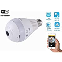 eoqo 360°Wide Angle Fisheye WiFi IP Hidden Camera Bulb LED Light 1080P HD Indoor Spy Security Camera for Android IOS APP Remote View Spy Nanny Camera