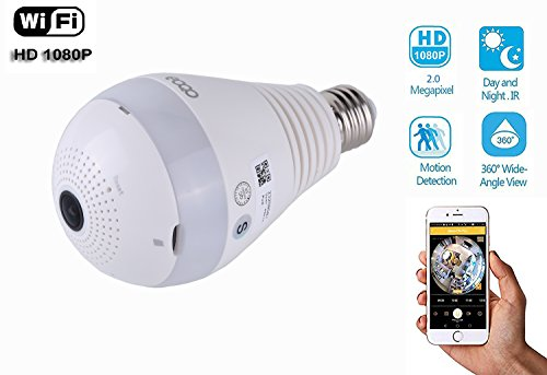 Hidden Led (eoqo 360°Wide Angle Fisheye WiFi IP Hidden Camera Bulb LED Light 1080P HD Indoor Spy Security Camera for Android IOS APP Remote View Spy Nanny Camera)