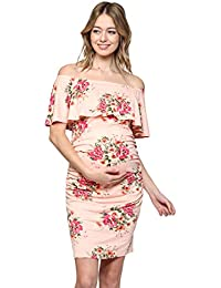 b7b38b8392a43 Women's Floral Ruffle Off Shoulder Maternity Dress - Made in USA