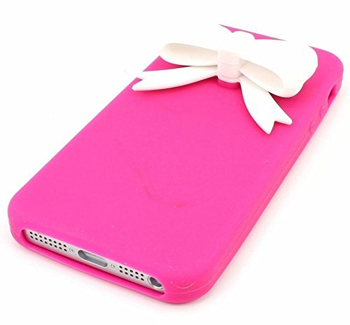niceeshop(TM) White Bow Tie Hot Pink Silicone Soft Cover Case for iPhone 5 5S + Screen Protector