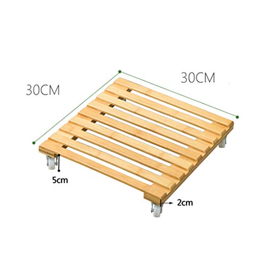 Euone Clearance Sales,Bamboo Movable Plant Pot Trolley Tray Square Universal Wheel Potted Chassis Base