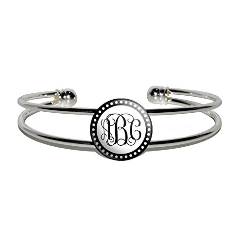 Graphics and More Personalized Custom Silver Plated Metal Cuff Bangle Bracelet - Monogram Fancy Font Scalloped Outline