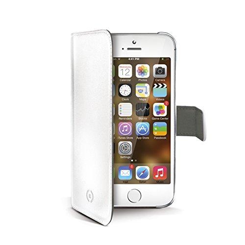 Celly Étui portefeuille pour iPhone 5S, 5SE, en cuir synthétique, blanc