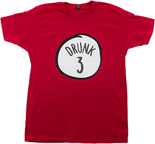 Drunk 3 | Funny Drinking Team, Group Halloween Costume Unisex T-Shirt-Adult,XL Red