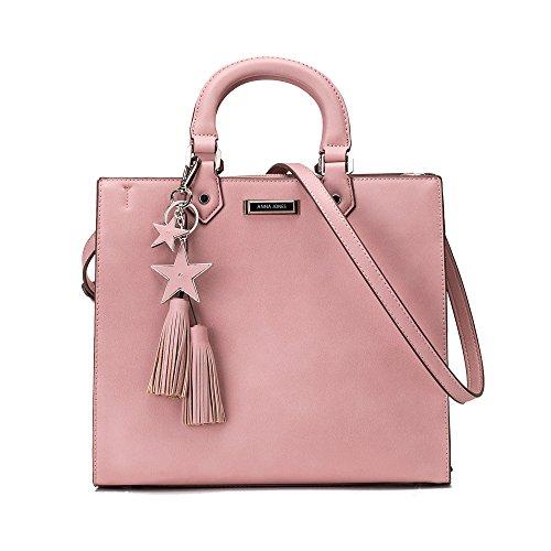 Women Pink Tote Handbag Satchel Purse Crossbody Bag with Tassel (Square Purse)