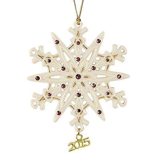 Lenox Christmas 2015 Annual Gemmed Snowflake Ornament Ruby red crystals (Lenox Annual Ornaments)