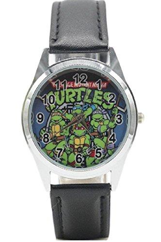 Teenage Mutant Ninja Turtles Black Genuine Leather Band Wrist Watch -