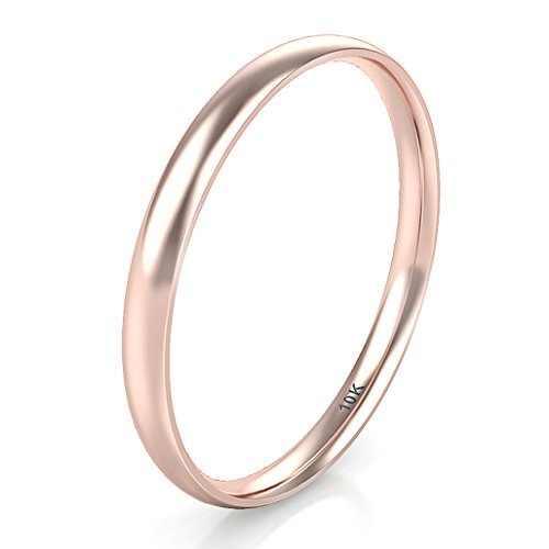 Sz 9.0 Solid 10K Rose Gold 2MM Plain Dome Wedding Band Ring ()