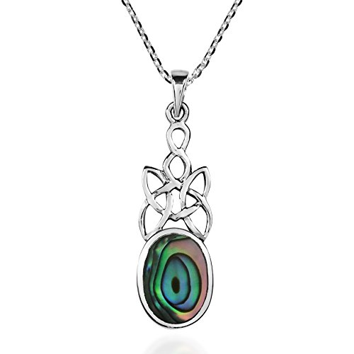 - AeraVida Celtic Knot Oval Drop Peacock Abalone Shell Inlay .925 Sterling Silver Pendant Necklace