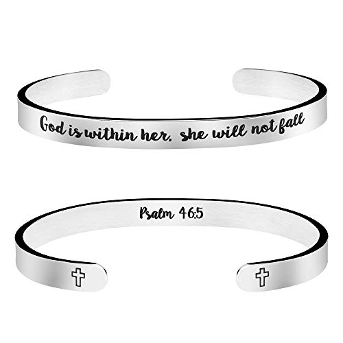 Joycuff God is Within Her She Will Not Fall Psalm 46:5 Bible Verse Bracelet Inspirational Christian Gift for Her Birthday