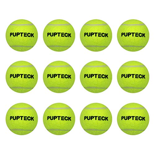 PUPTECK 12 Pack Squeaky Dog Tennis Balls for Pet Training - Yellow - 2.5