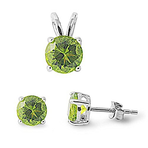 Jewelry Set Solitaire Round Pendant Earring Set Simulated Peridot 925 Sterling - Heart Peridot Earrings Crown