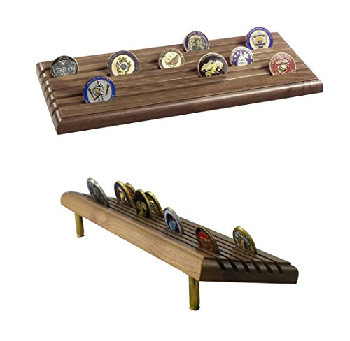 Coin Display Rack Made in USA Military 6 Row Tiered with Gun Shells - Natural Walnut