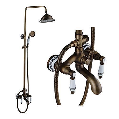 Rozin Porcelain Deco Tub Shower Faucet Set 8-inch Rainfall Showerhead + Handheld Spray Antique Brass
