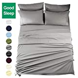 European King Bed Sheets EASELAND 6-Pieces 1800 Series Microfiber Bed Sheets Set-Wrinkle & Fade Resistant,Deep Pocket,Hypoallergenic Bedding Set,King,Grey