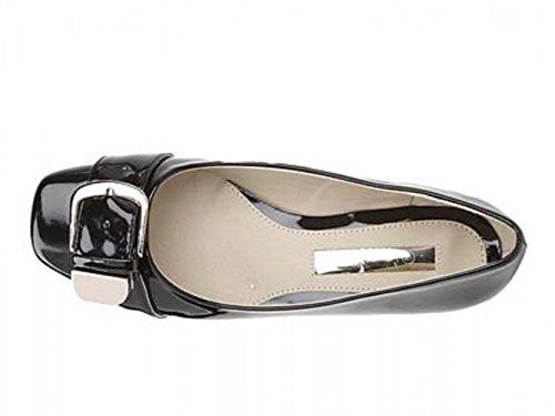 Damen Comfort Plus schwarz Patent Weite Passform Schnalle Pumps