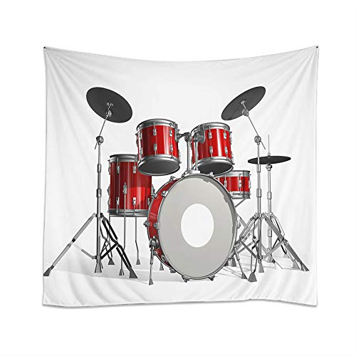 Moslion Music Tapestry Rock N Roll Jazz Musical Instrument Cool Drum Set for Show Concert Party Wall Hanging Tapestries One Side Decorative Home Art Polyester for Living Room 60x51 Inch for $<!--$15.99-->