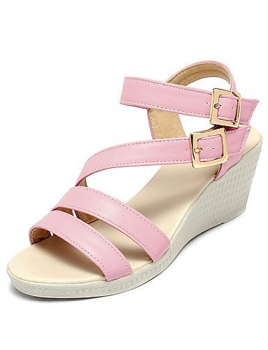 Women's White Wedge Fabric Pink Heel Pink Sandals ShangYi Outdoor Shoes Wedges Blue Dress Casual dqw7Ef