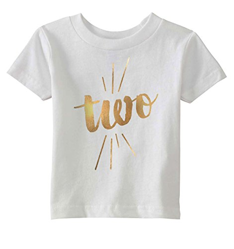 Crazy Dog T-Shirts Toddler Two Years Old Gold Shimmer Application Cute Birthday T Shirt (White) 2T (Tee State Glitter)