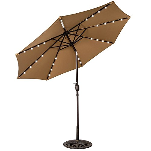 Sundale Outdoor Solar Powered 32 LED Lighted Outdoor Patio Umbrella with Crank and Tilt, 9 Feet, Tan